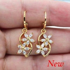 18K Gold Filled Twin Flower Drop Earrings Gift